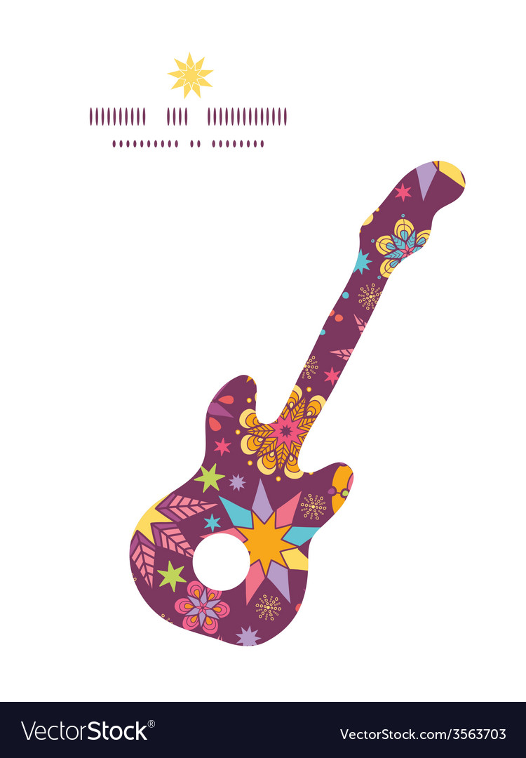 Colorful stars guitar music silhouette pattern vector | Price: 1 Credit (USD $1)