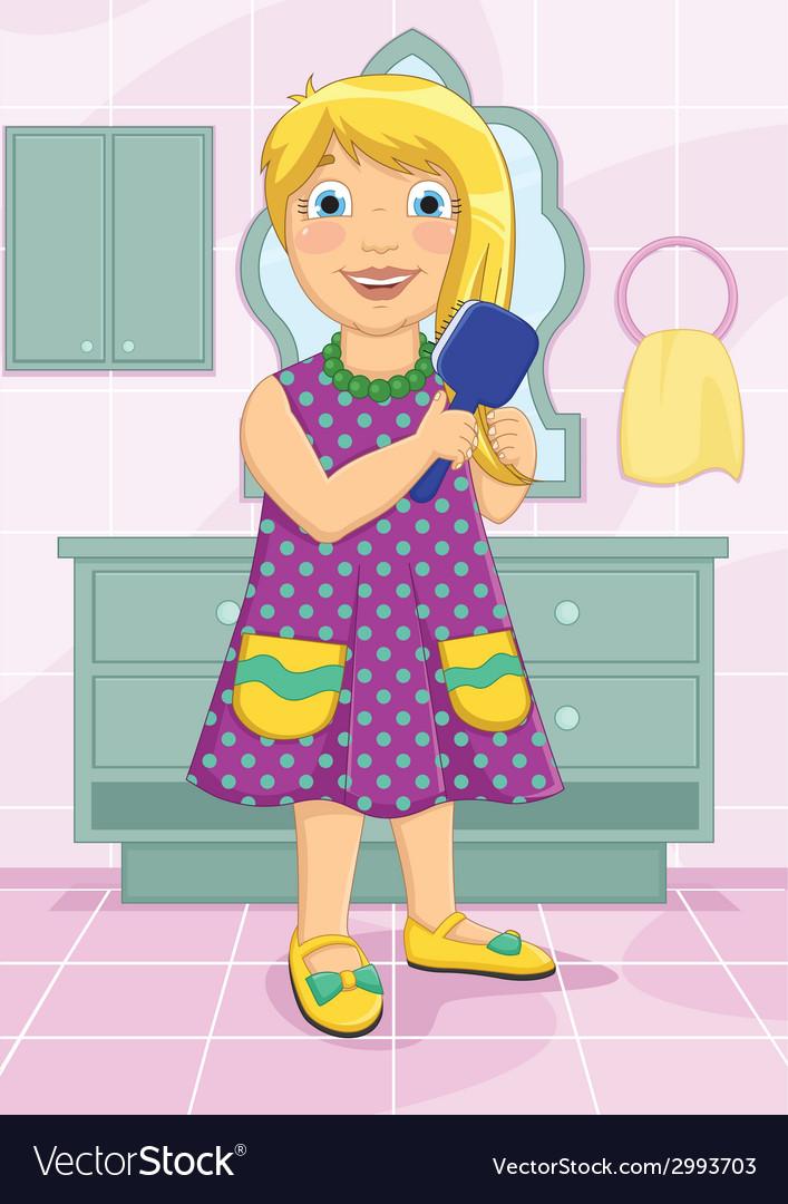 Girl brushing hair vector | Price: 1 Credit (USD $1)