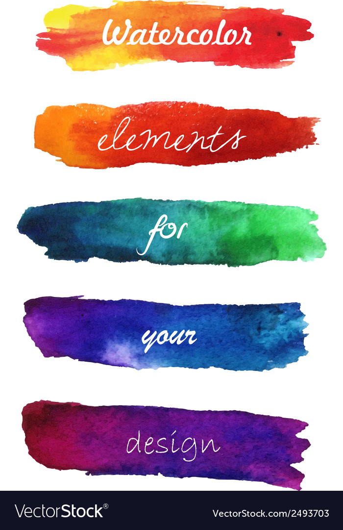 Gradient hand painted brush strokes isolated on vector | Price: 1 Credit (USD $1)
