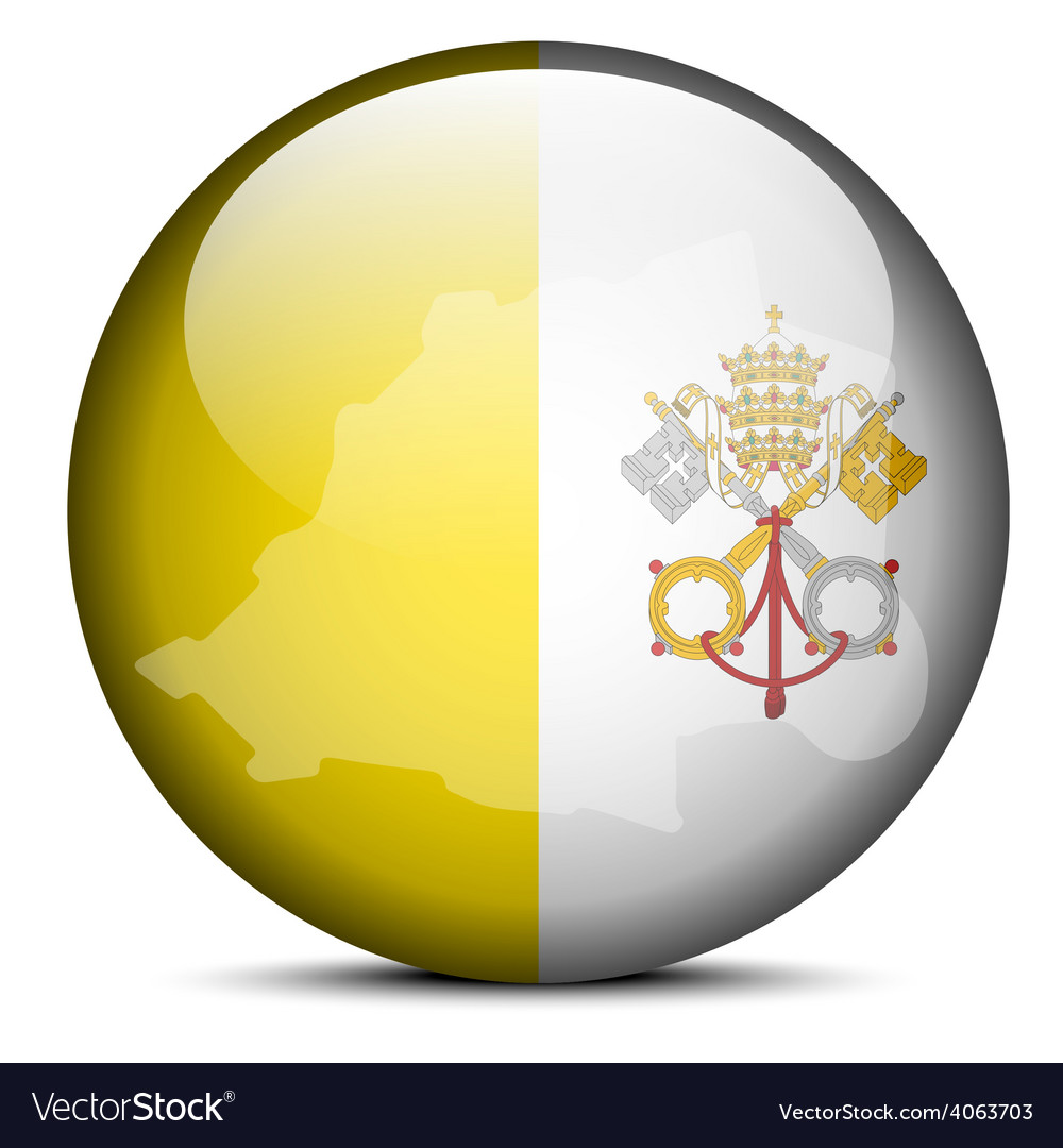 Map on flag button of vatican city state holy see vector | Price: 1 Credit (USD $1)