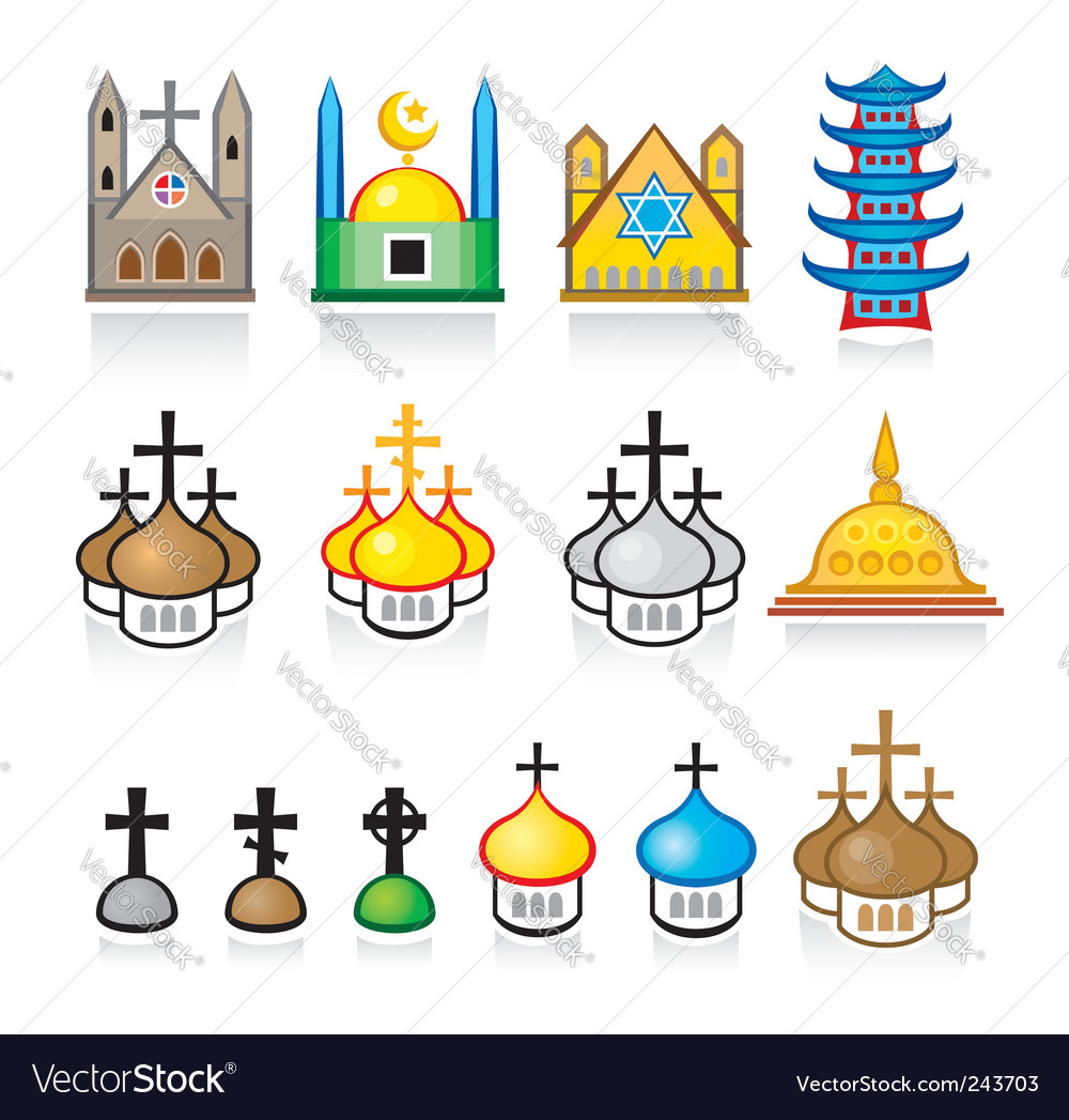Religious temples and worship places vector | Price: 1 Credit (USD $1)