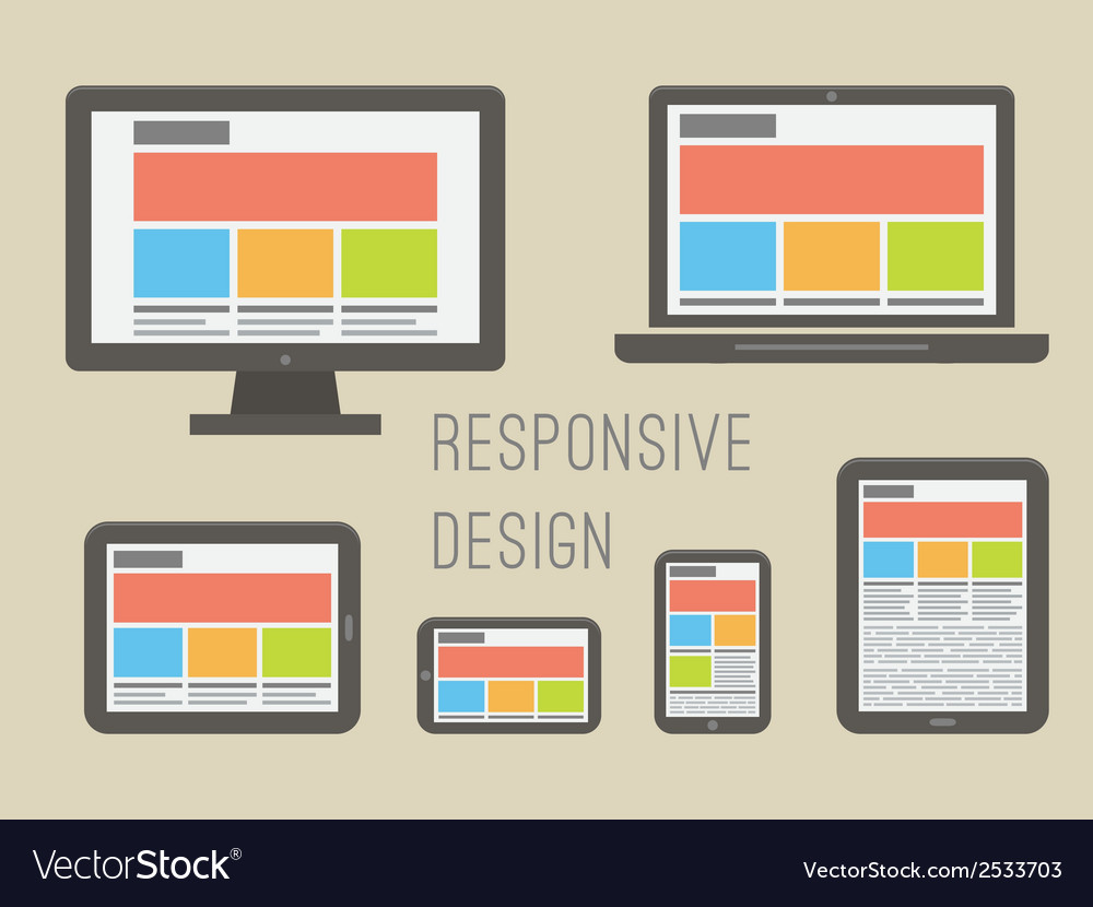 Responsive web design flat style vector | Price: 1 Credit (USD $1)