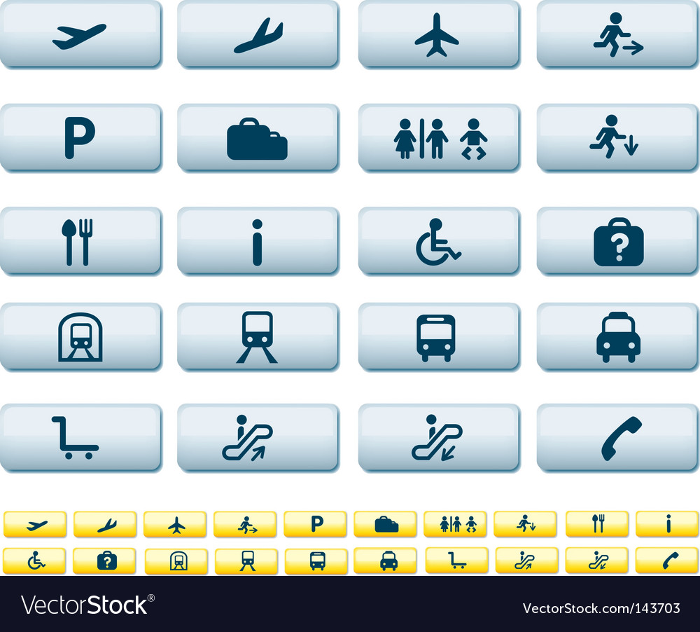 Travel icons long buttons vector | Price: 1 Credit (USD $1)