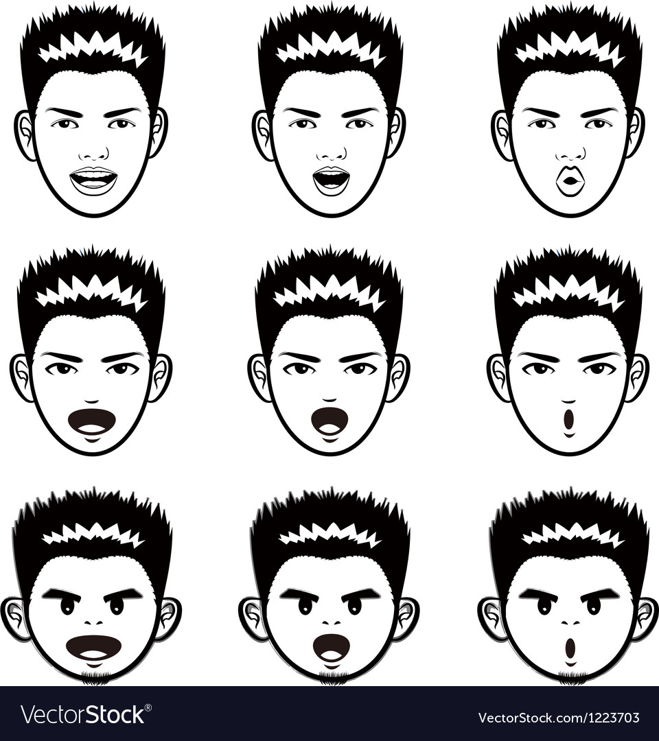 Various facial expressions of a man face mascot vector | Price: 1 Credit (USD $1)