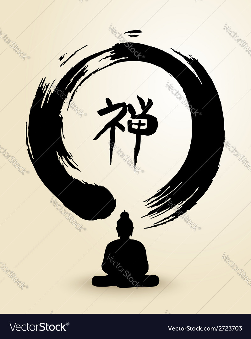 Zen circle and buddha vector