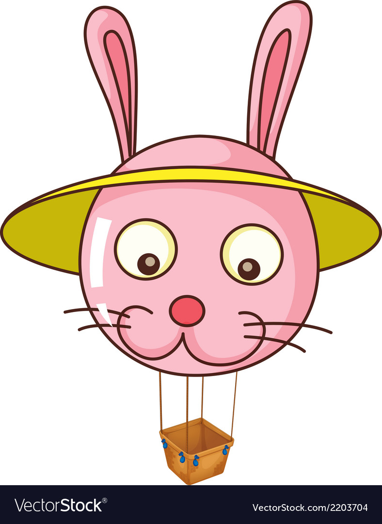A floating bunny balloon carrying an empty basket vector | Price: 1 Credit (USD $1)