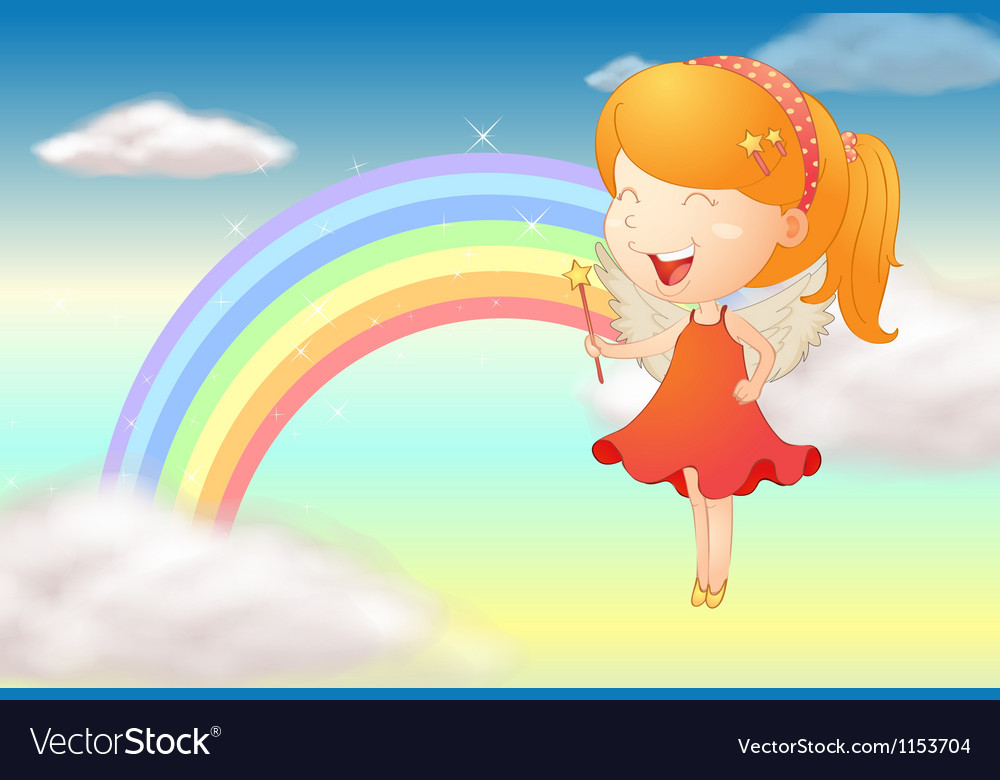 An angle girl and a rainbow vector | Price: 1 Credit (USD $1)