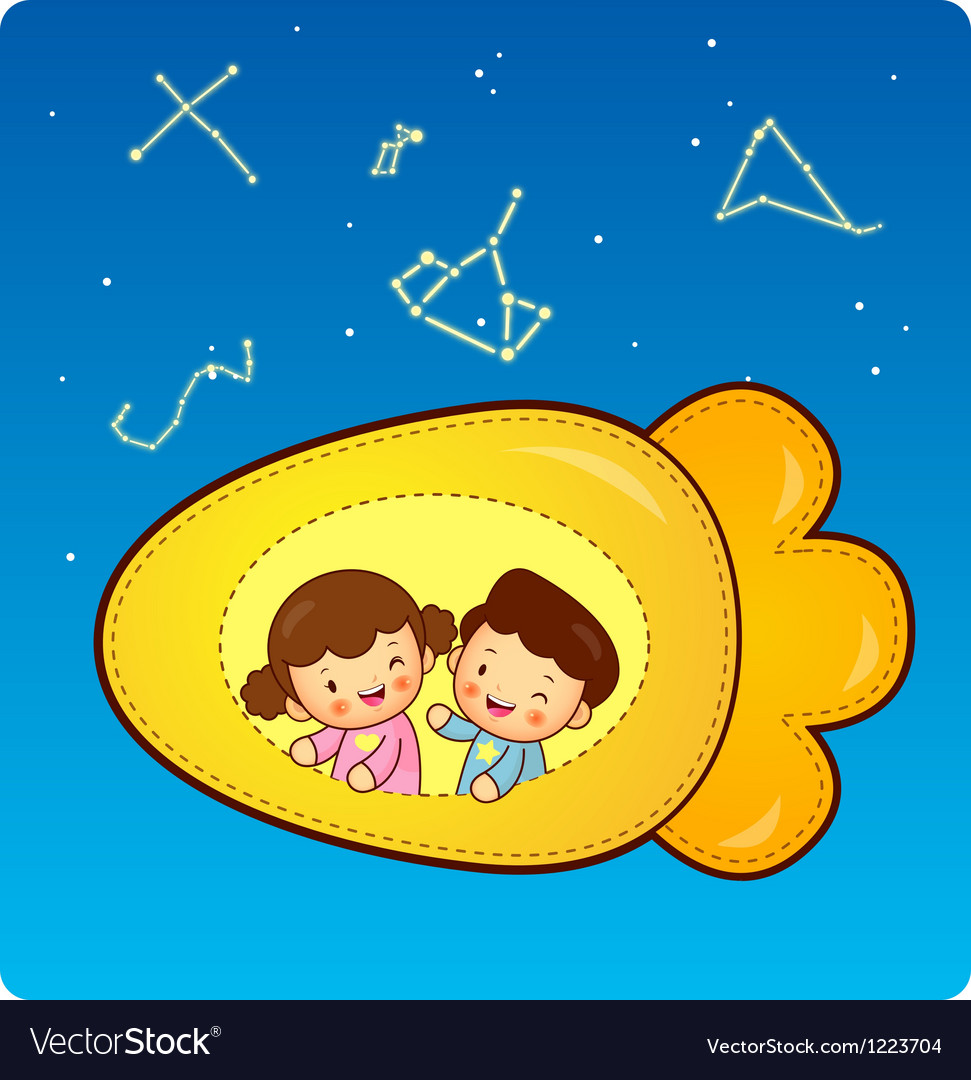 Boys and girls traveling on a plane spacecraft vector | Price: 3 Credit (USD $3)