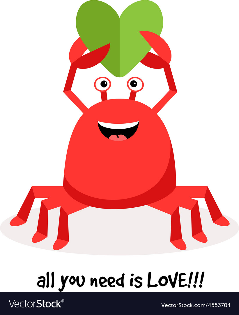 Cartoon crab in love with paper heart vector | Price: 1 Credit (USD $1)