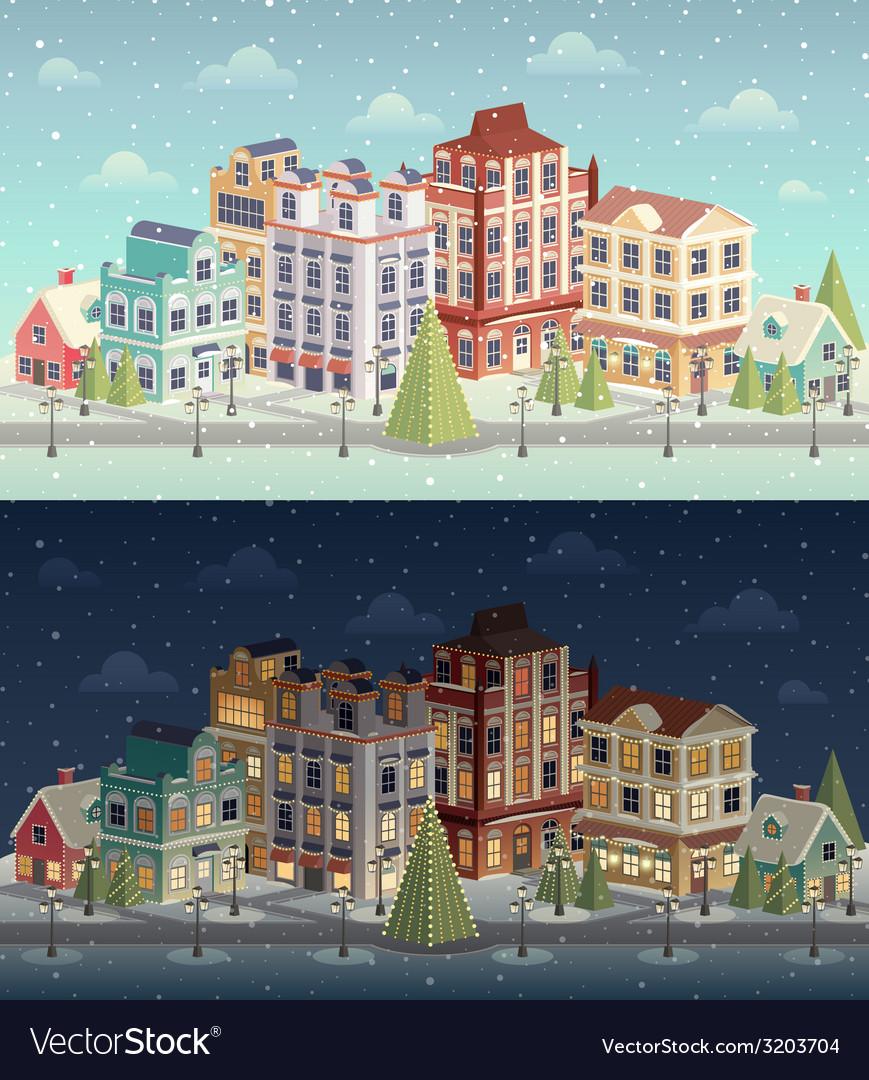 Christmas city vector | Price: 1 Credit (USD $1)