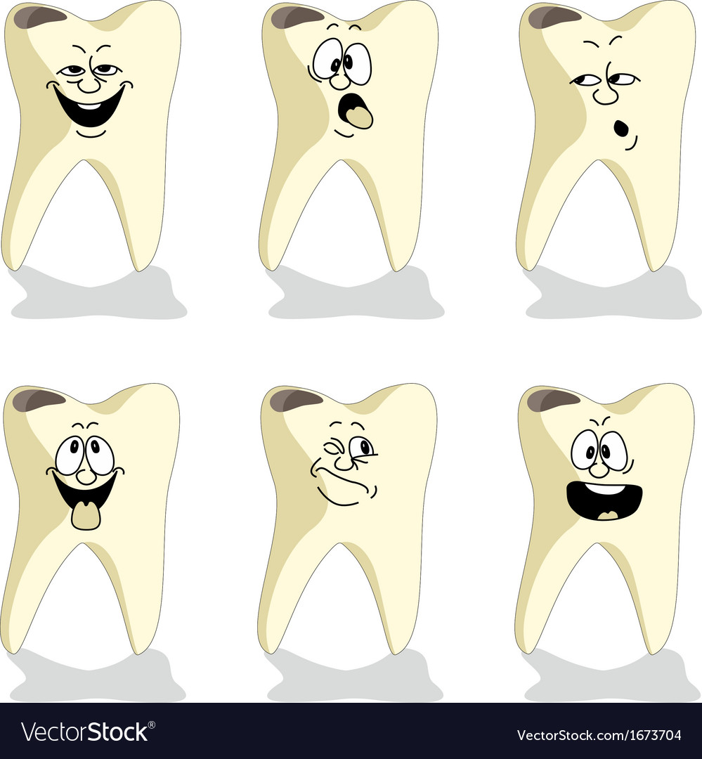 Emotion tooth cartoon set 009 vector | Price: 1 Credit (USD $1)