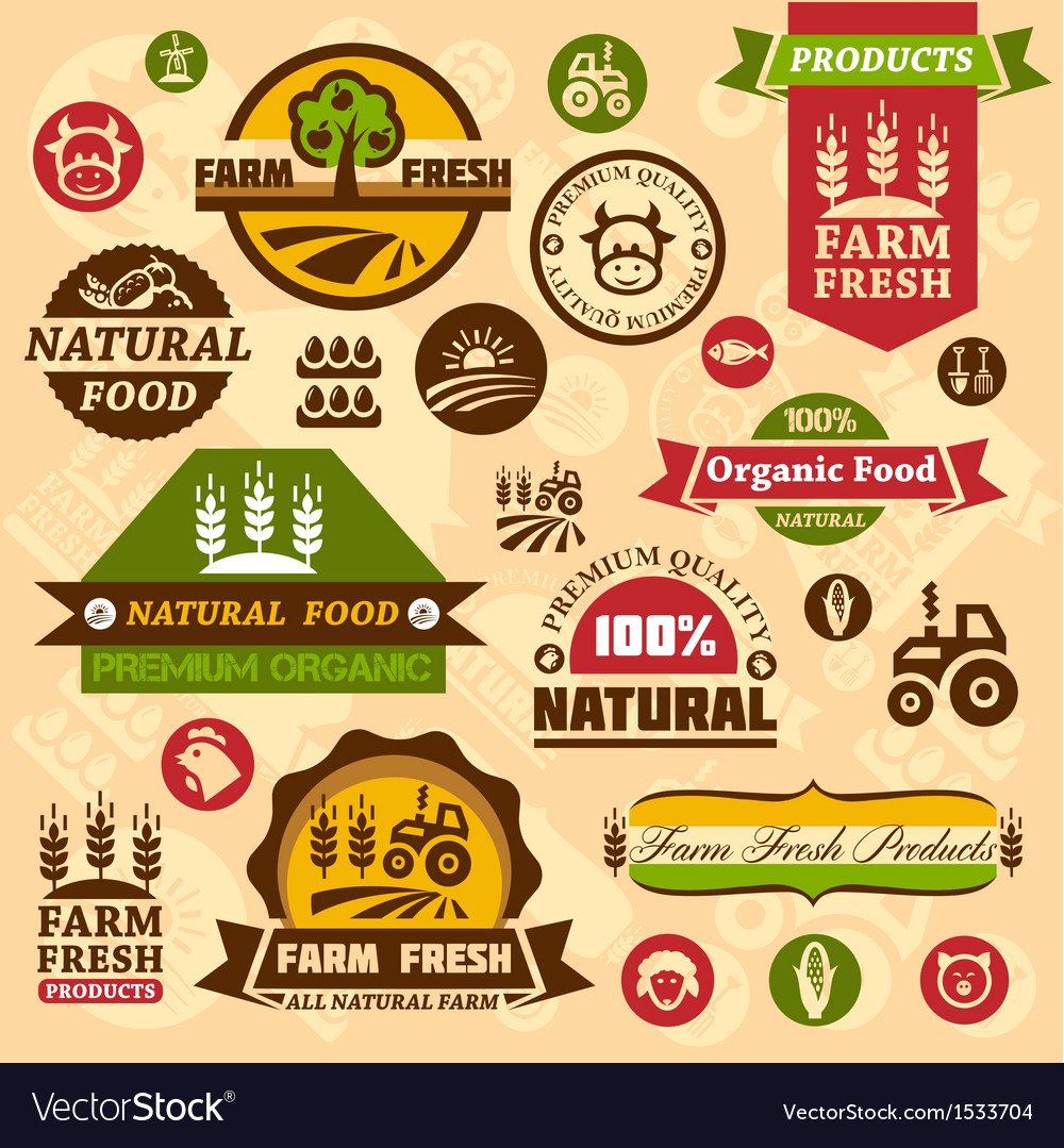 Farm logo labels and designs vector | Price: 3 Credit (USD $3)