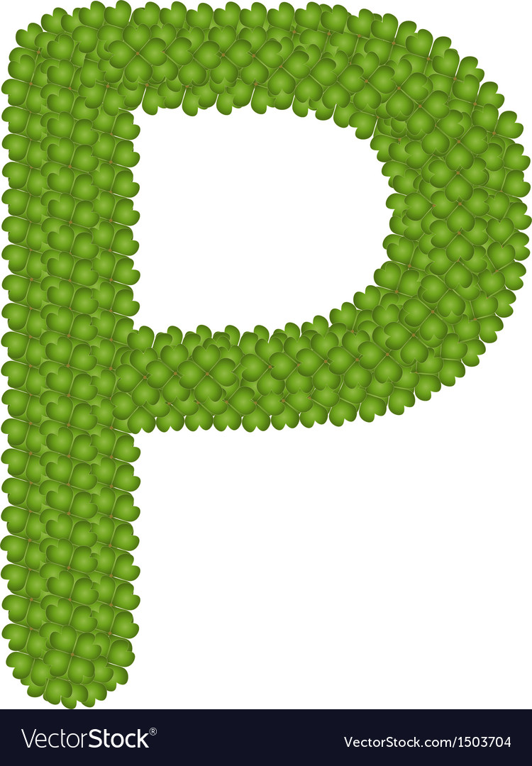 Four leaf clover of alphabet letter p vector | Price: 1 Credit (USD $1)