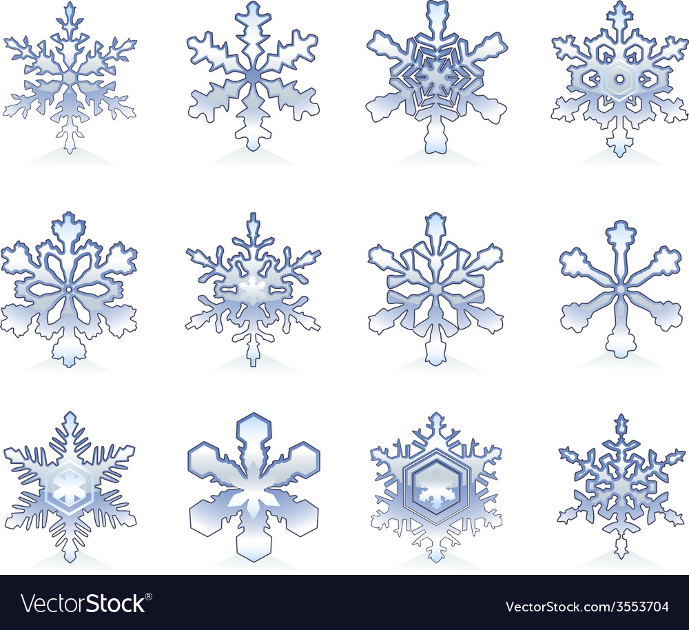Glossy snowflakes vector | Price: 1 Credit (USD $1)