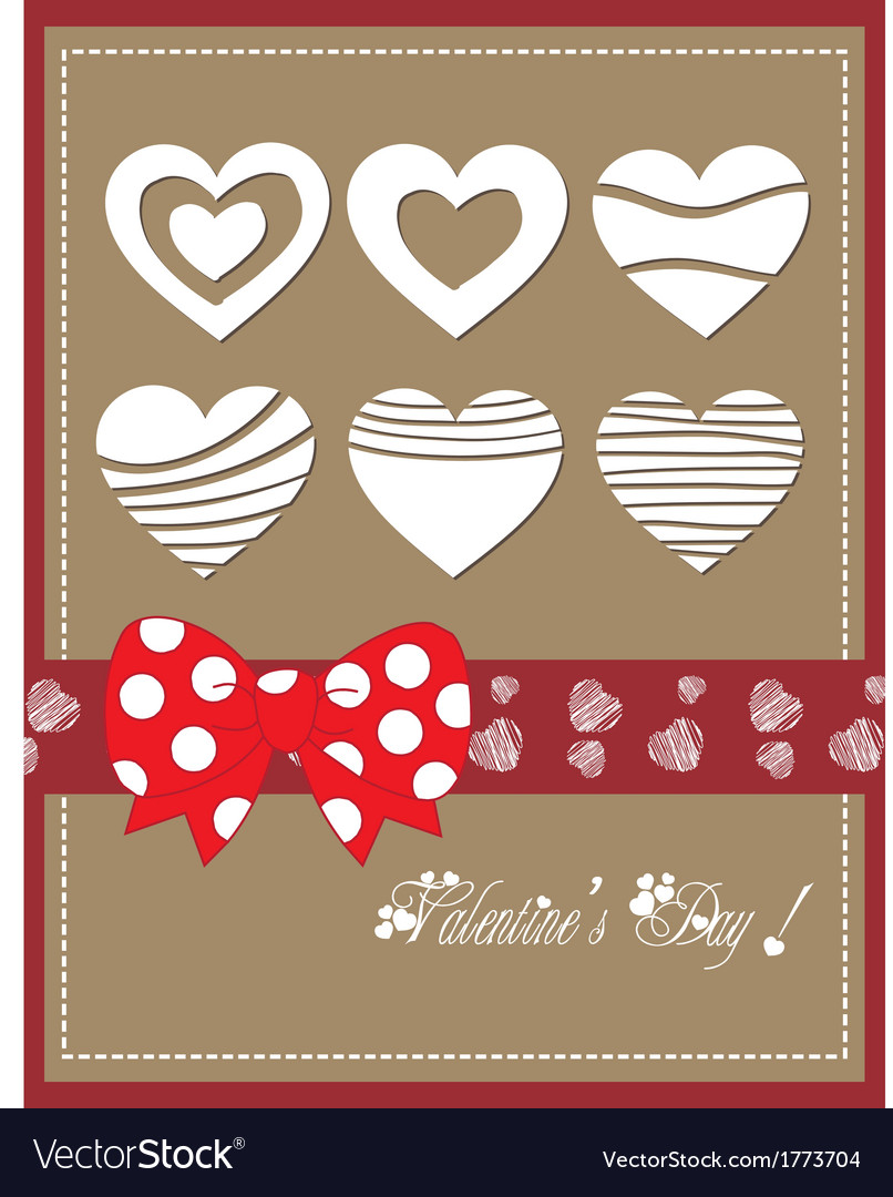 Happy valentine day with bow heart vector | Price: 1 Credit (USD $1)