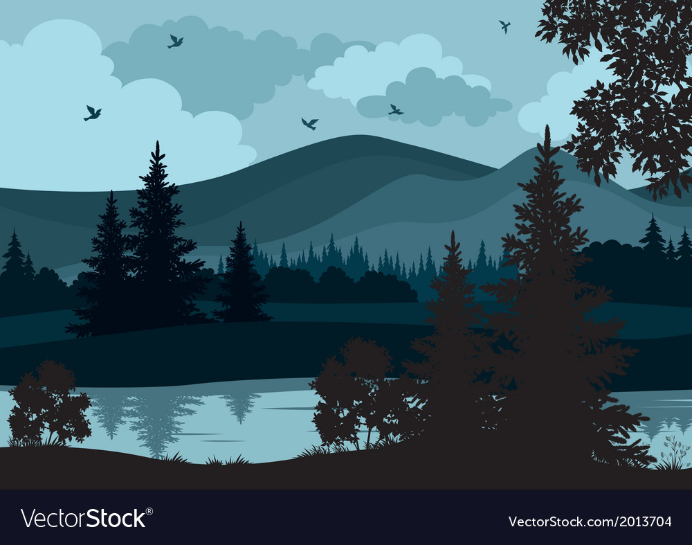 Landscape trees river and mountains vector | Price: 1 Credit (USD $1)