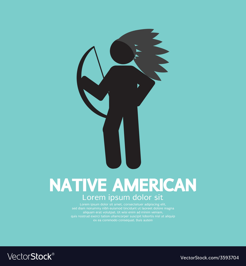 Native american with weapon black symbol graphic vector | Price: 1 Credit (USD $1)