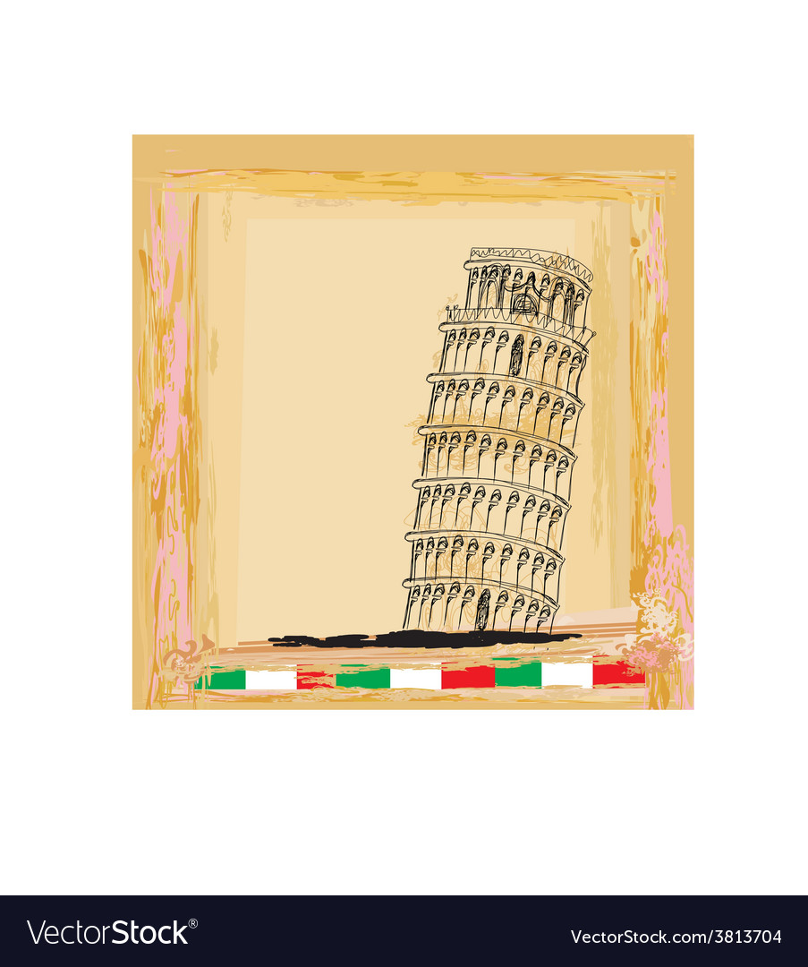 Pisa tower vintage background vector | Price: 1 Credit (USD $1)