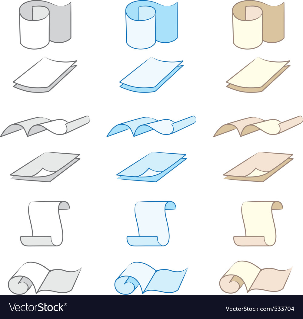 Set of paper icons vector | Price: 1 Credit (USD $1)