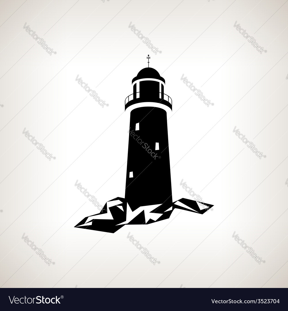 Silhouette lighthouse on a light background vector | Price: 1 Credit (USD $1)