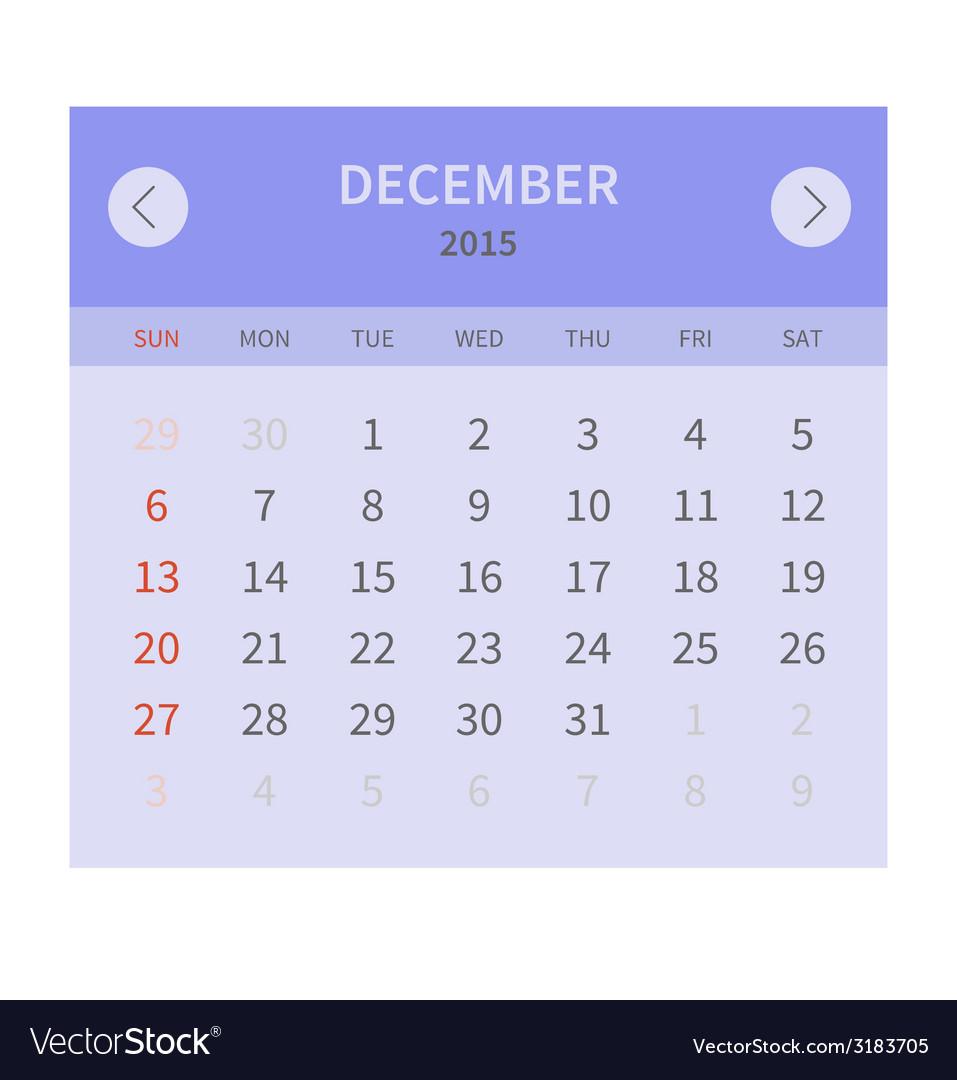 Calendar monthly december 2015 in flat design vector | Price: 1 Credit (USD $1)