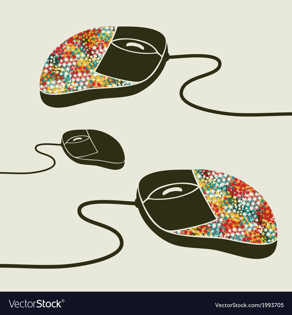 Computer mouse decorated with design print vector   Price: 1 Credit (USD $1)