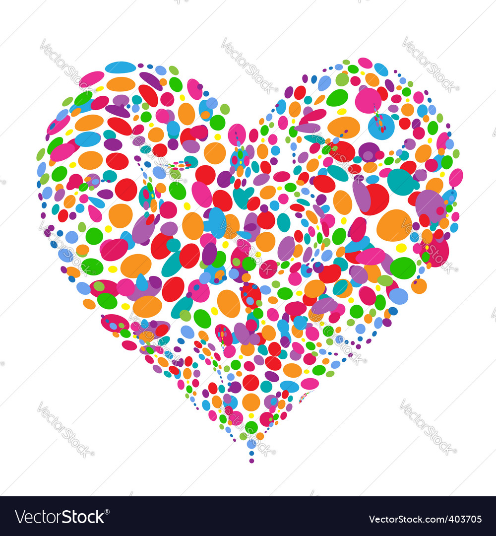 Funny colorful heart shape design vector | Price: 1 Credit (USD $1)
