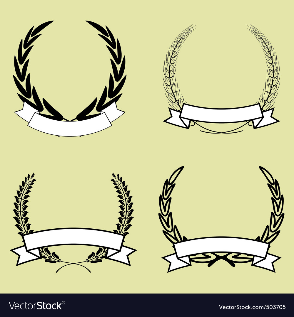 Laurel wreath with ribbon vector