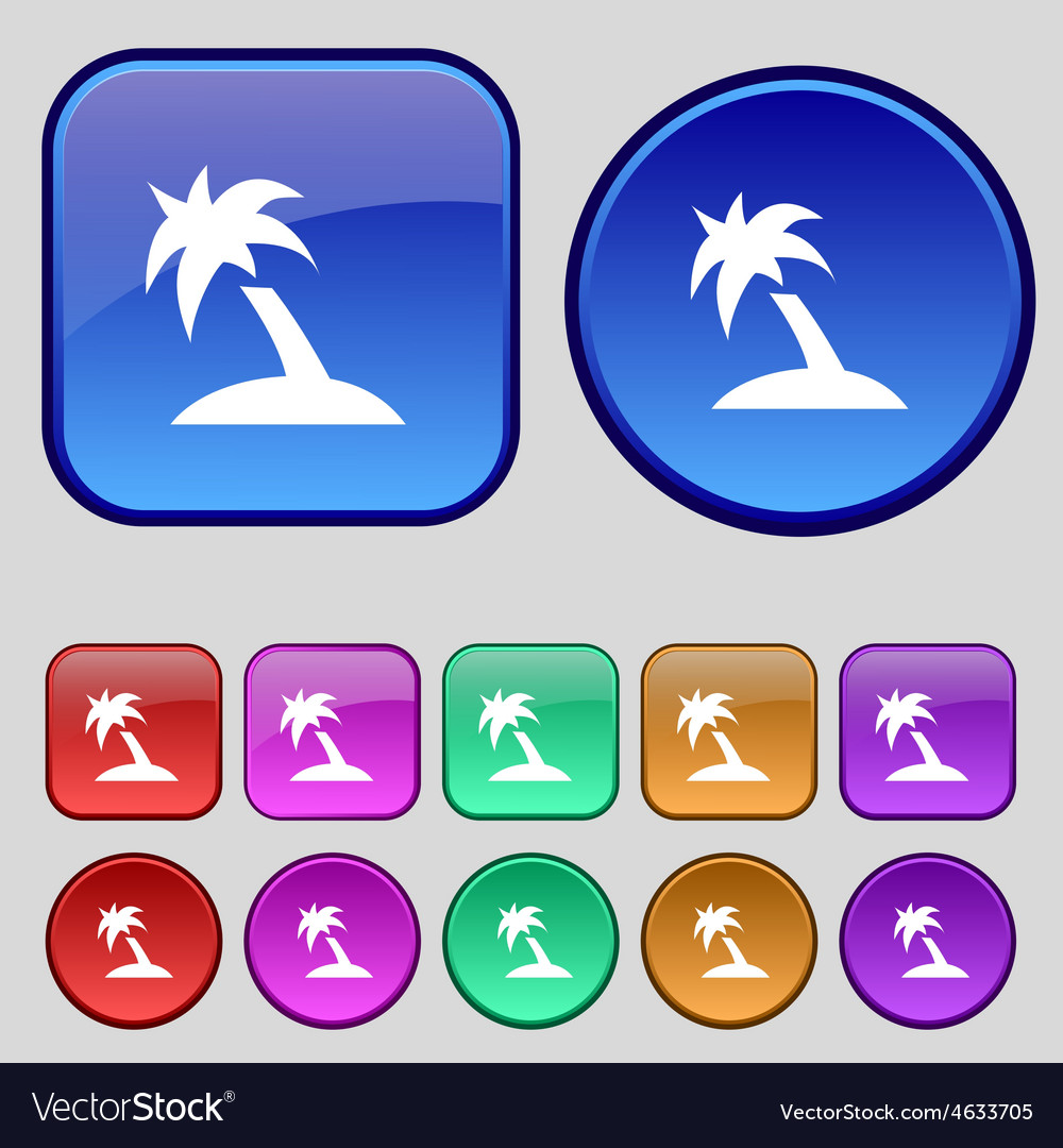 Palm tree travel trip icon sign a set of twelve vector | Price: 1 Credit (USD $1)