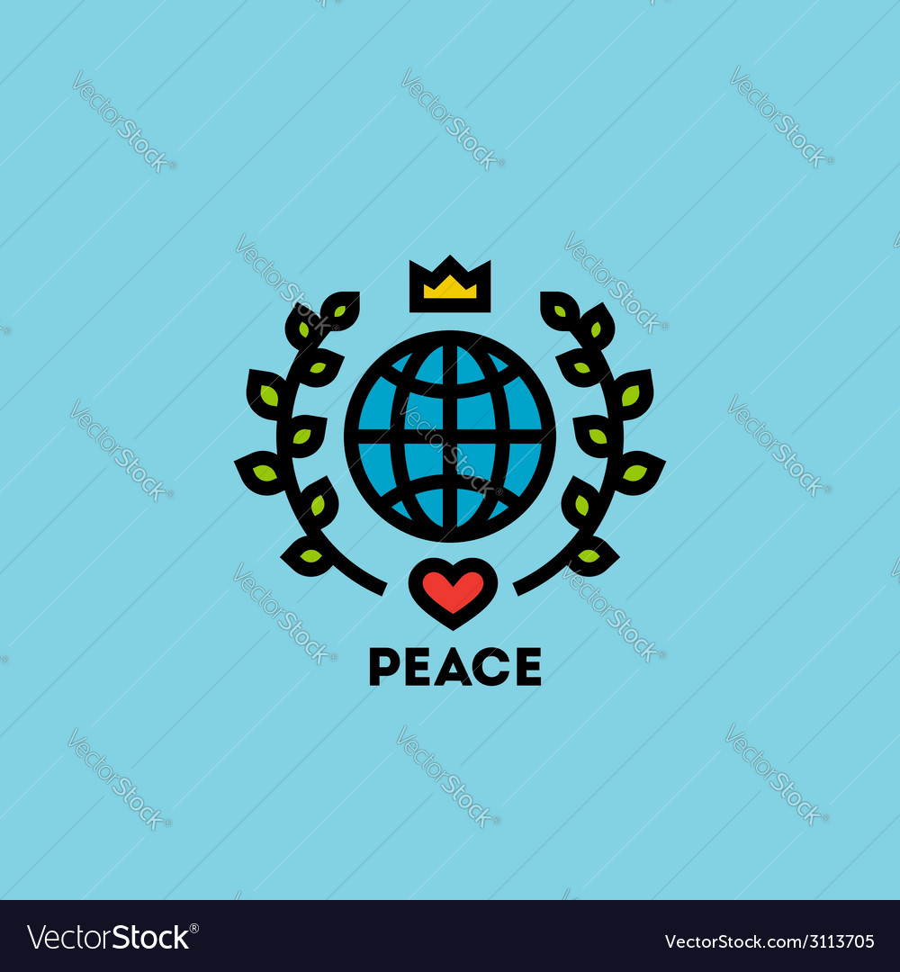 Peace day concept with globe green leaves vector | Price: 1 Credit (USD $1)