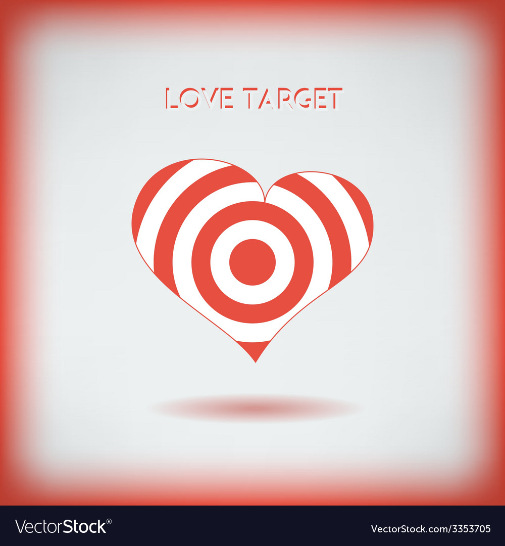 Red heart target icon love aim concept vector | Price: 1 Credit (USD $1)
