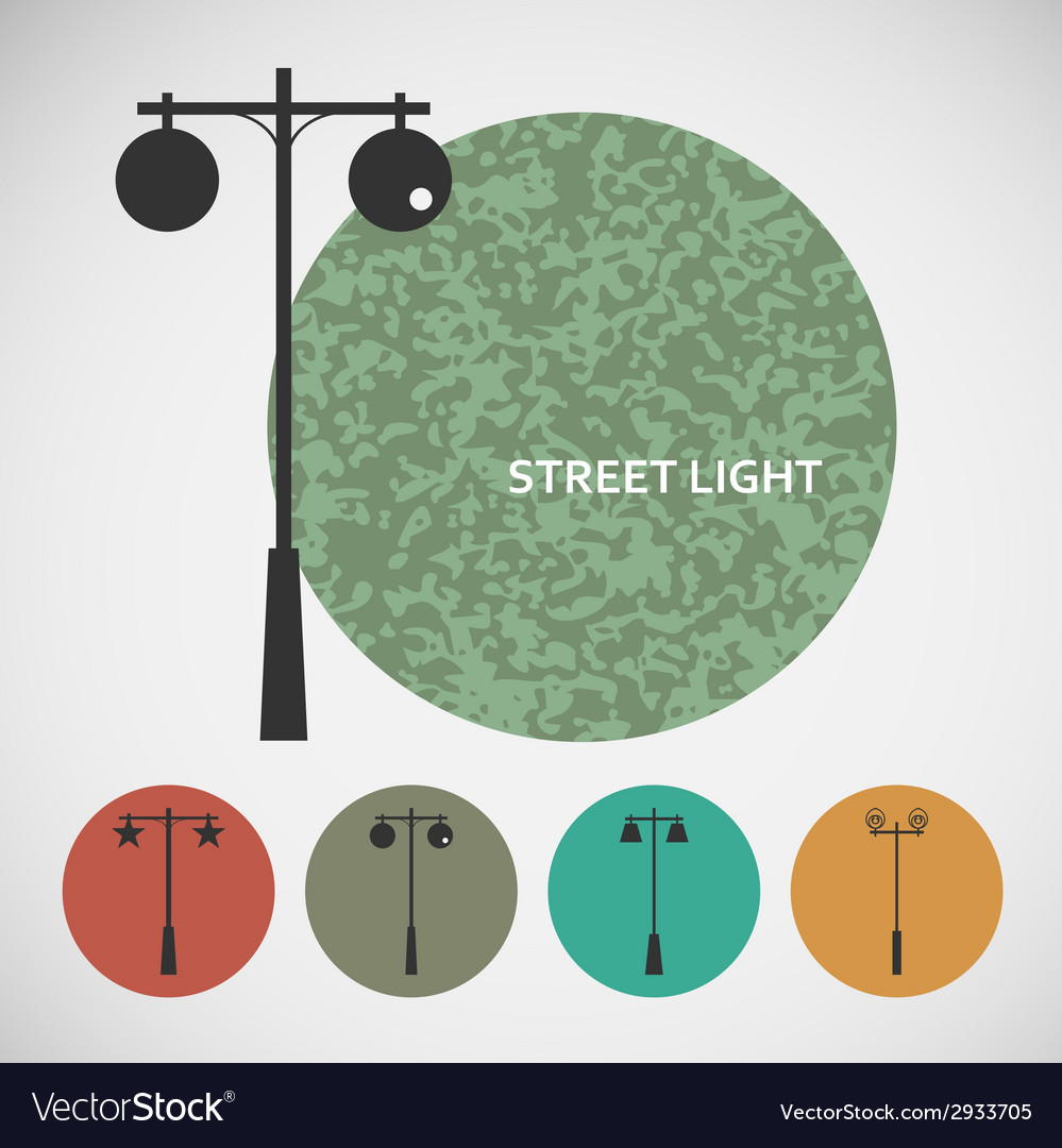 Set vintage street lights on colored backgrounds vector | Price: 1 Credit (USD $1)