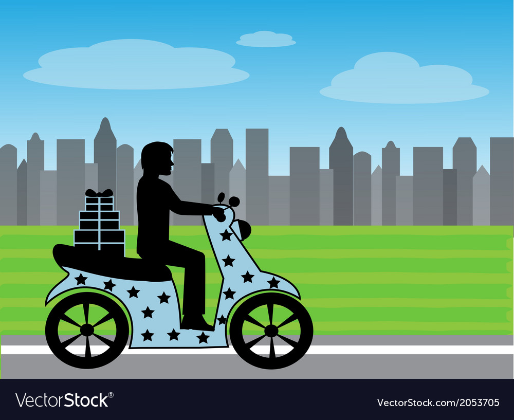 Silhouette of a man on a motorcycle rides on the r vector | Price: 1 Credit (USD $1)