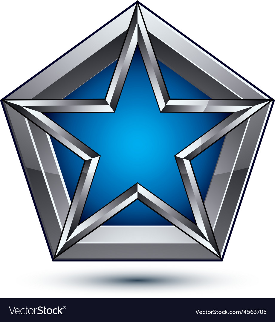 Silvery blazon with pentagonal blue star can be vector | Price: 1 Credit (USD $1)