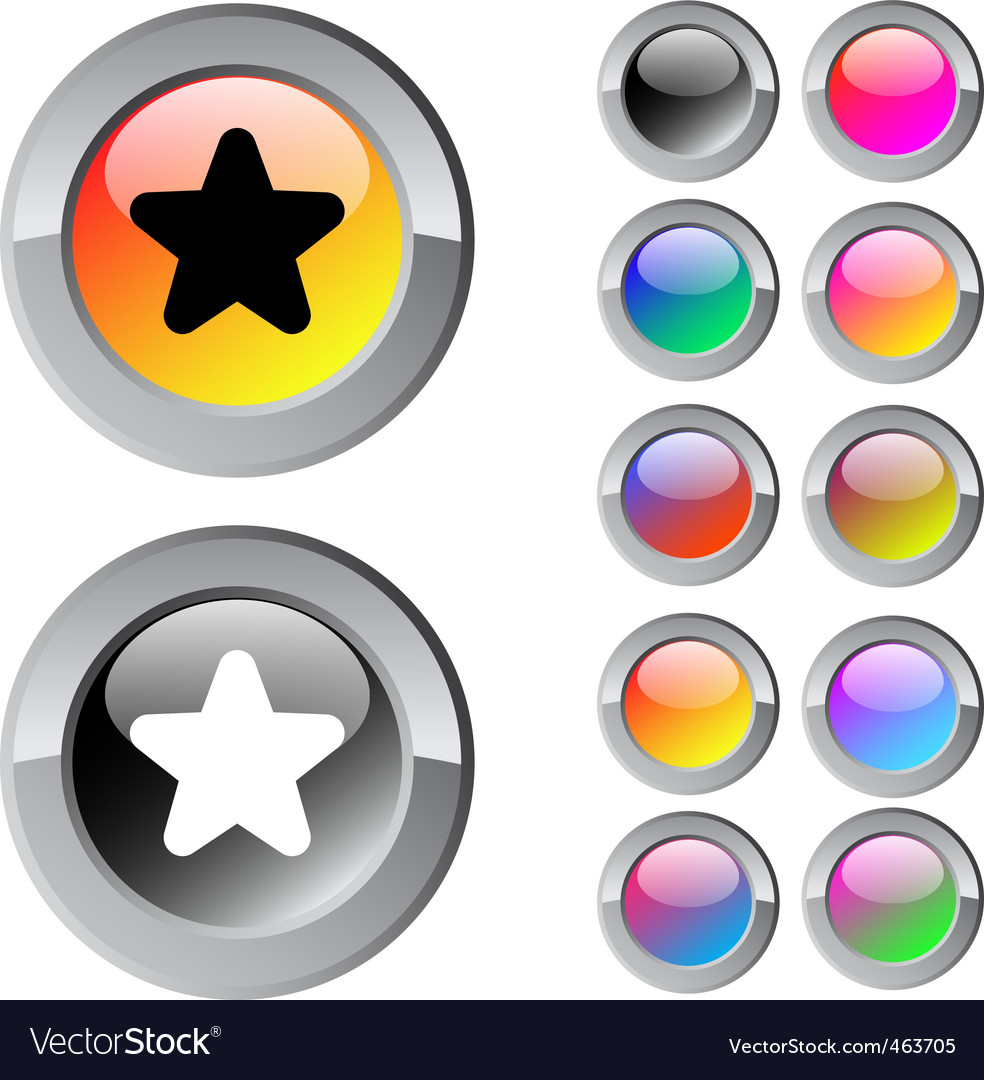 Star multicolor round button vector | Price: 1 Credit (USD $1)