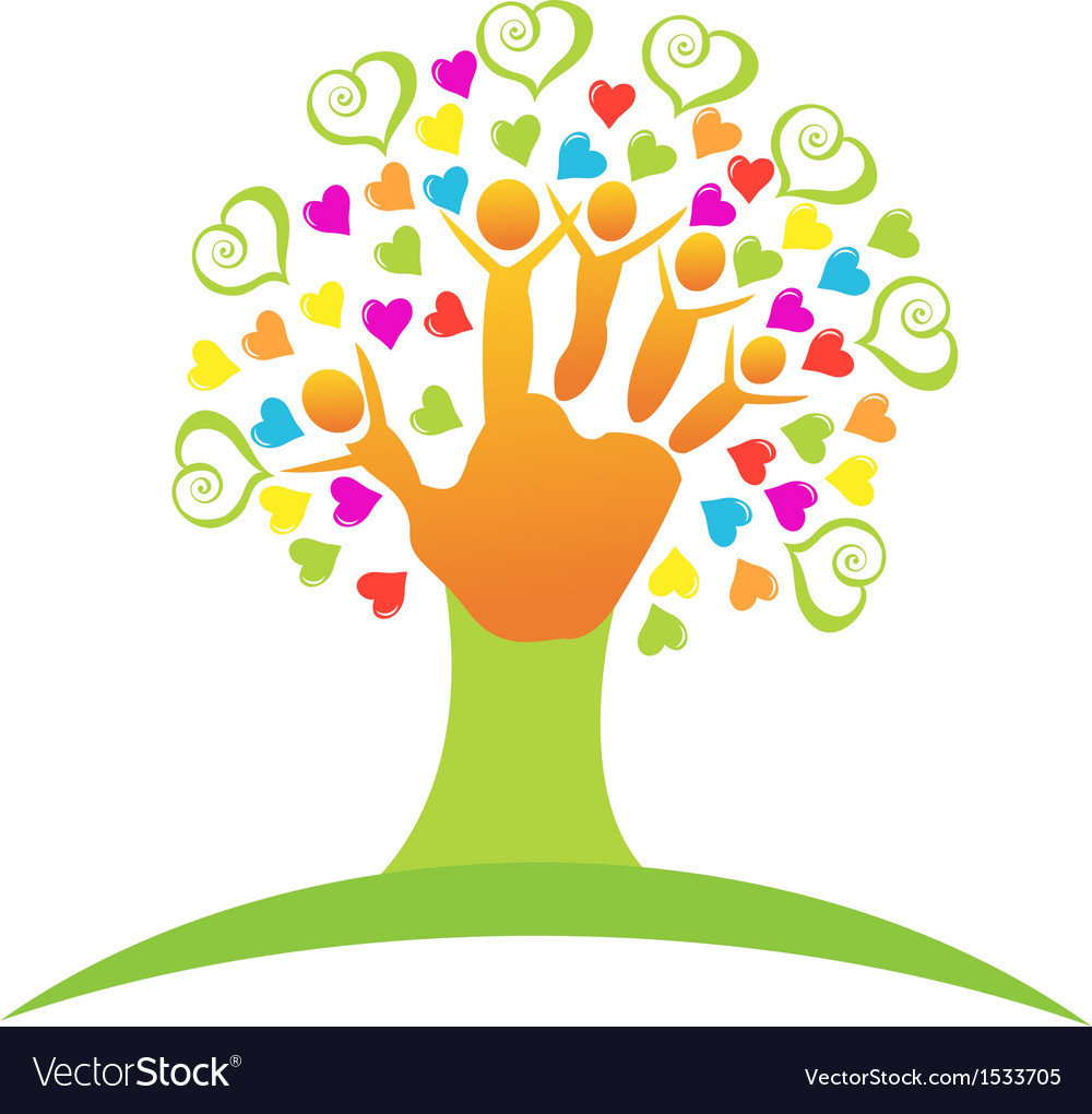 Tree children hands and love logo vector | Price: 1 Credit (USD $1)