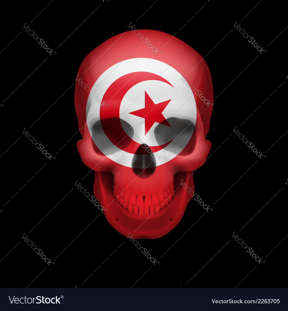 Tunisian flag skull vector | Price: 1 Credit (USD $1)