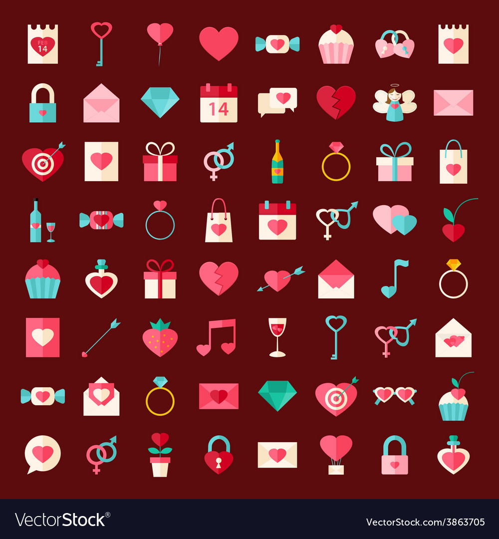 Valentine day flat style icons vector | Price: 1 Credit (USD $1)