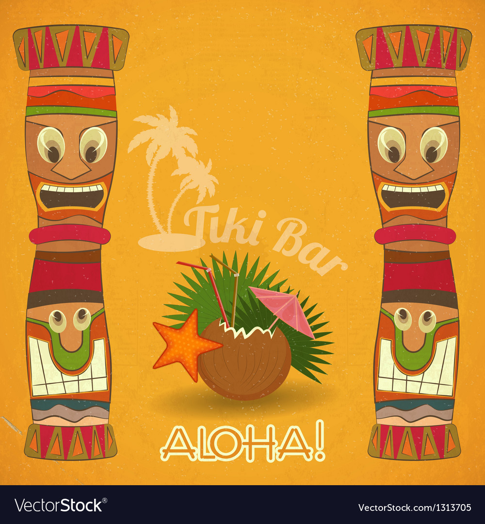 Vintage hawaiian tiki bar vector | Price: 1 Credit (USD $1)
