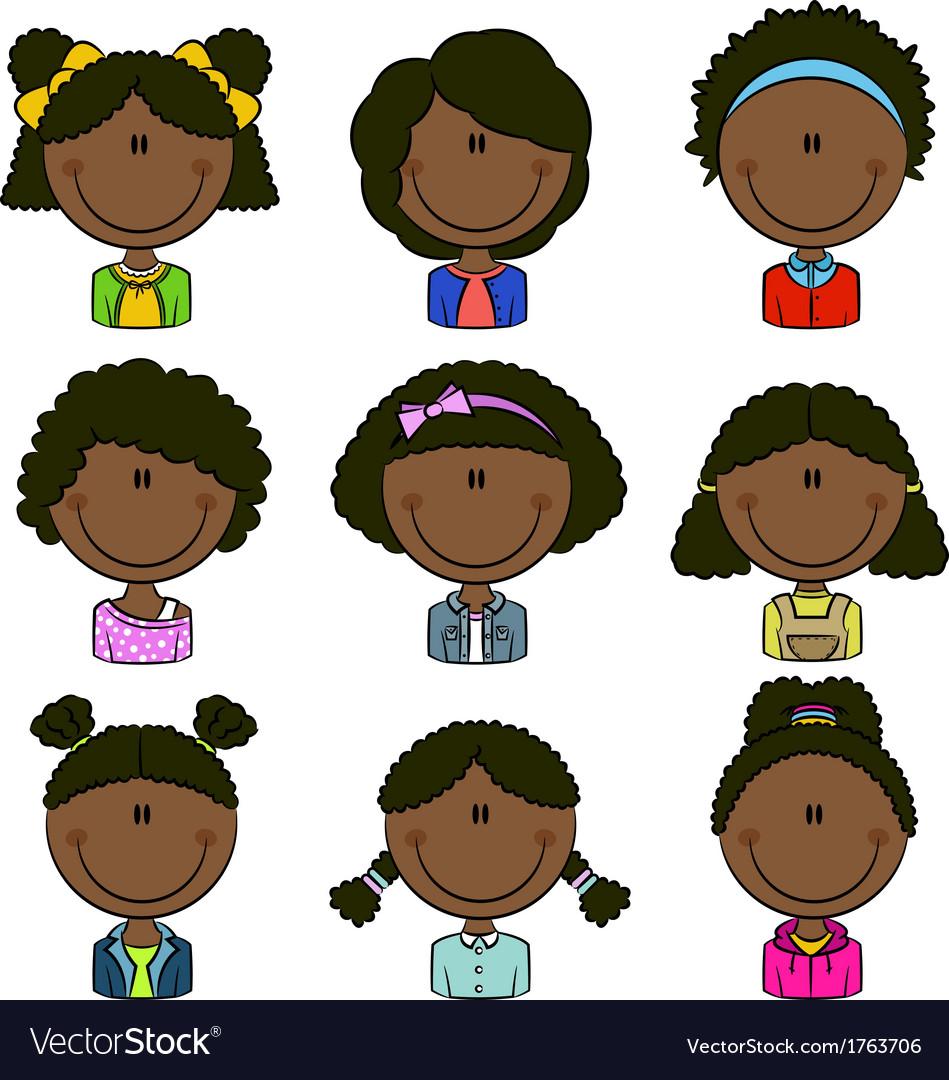 African american girls avatar vector | Price: 1 Credit (USD $1)