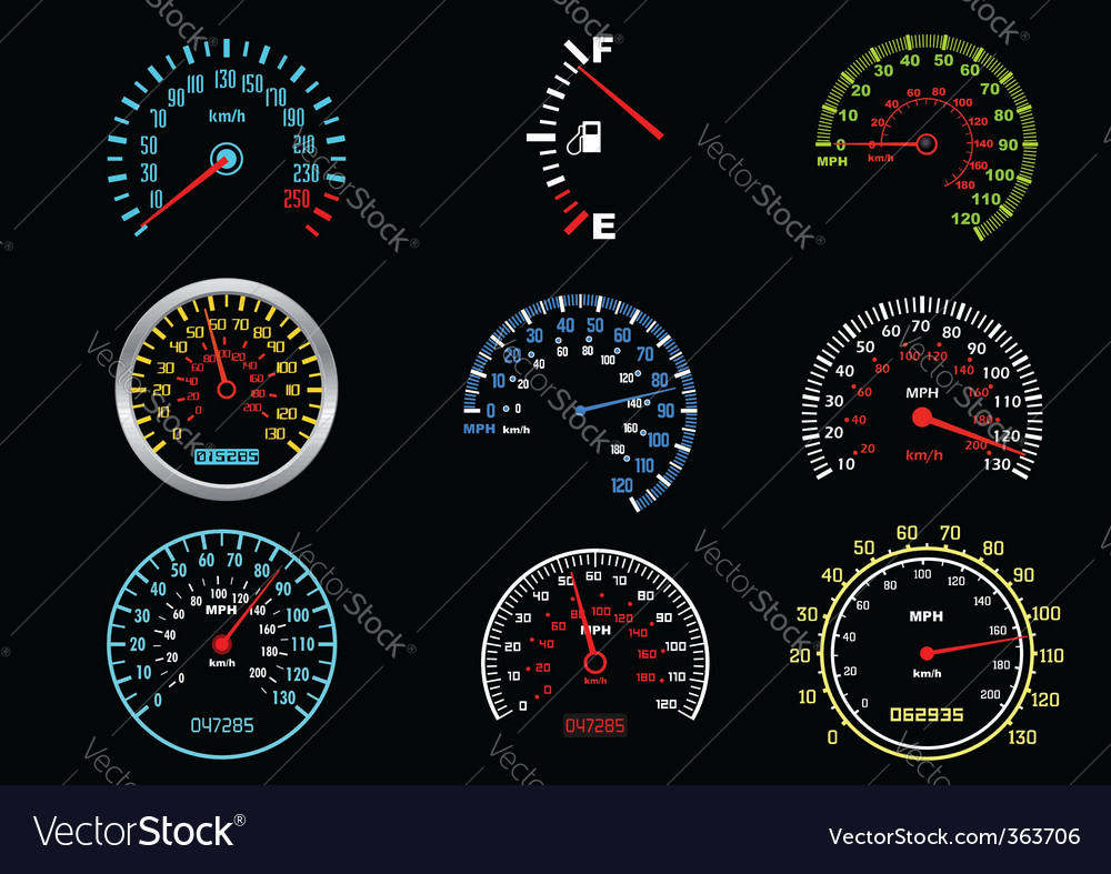 Car speedometers vector | Price: 1 Credit (USD $1)