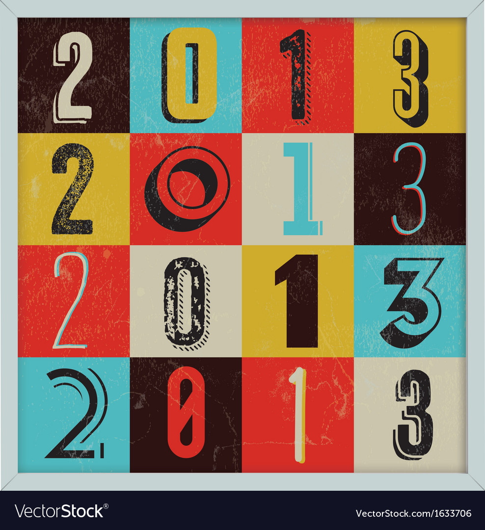 Colorful retro vintage 2013 new year vector | Price: 1 Credit (USD $1)