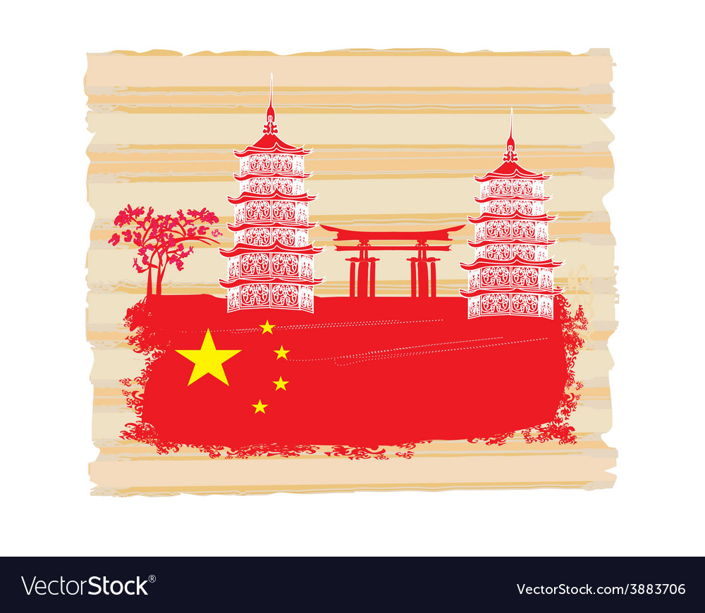 Decorative chinese landscape card with buildings vector | Price: 1 Credit (USD $1)