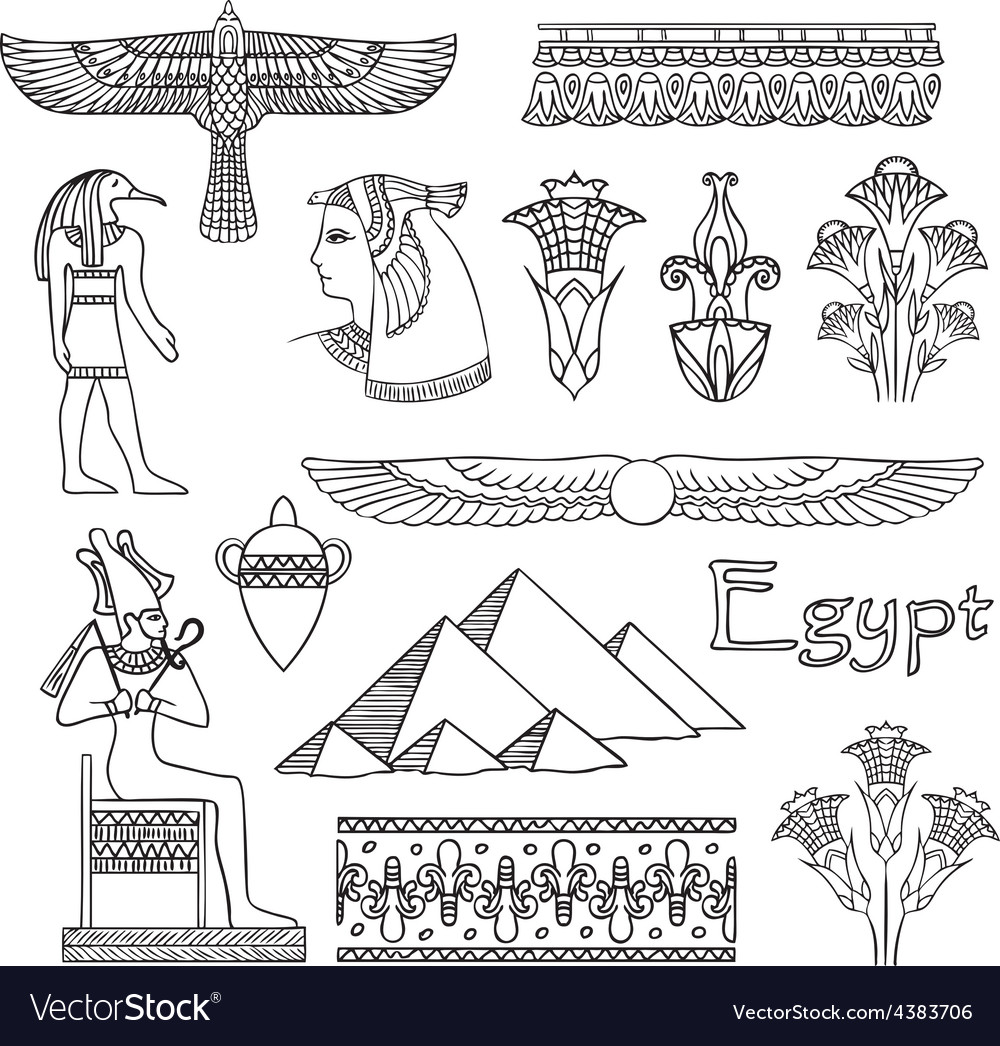 Egypt architecture and ornaments set vector | Price: 1 Credit (USD $1)