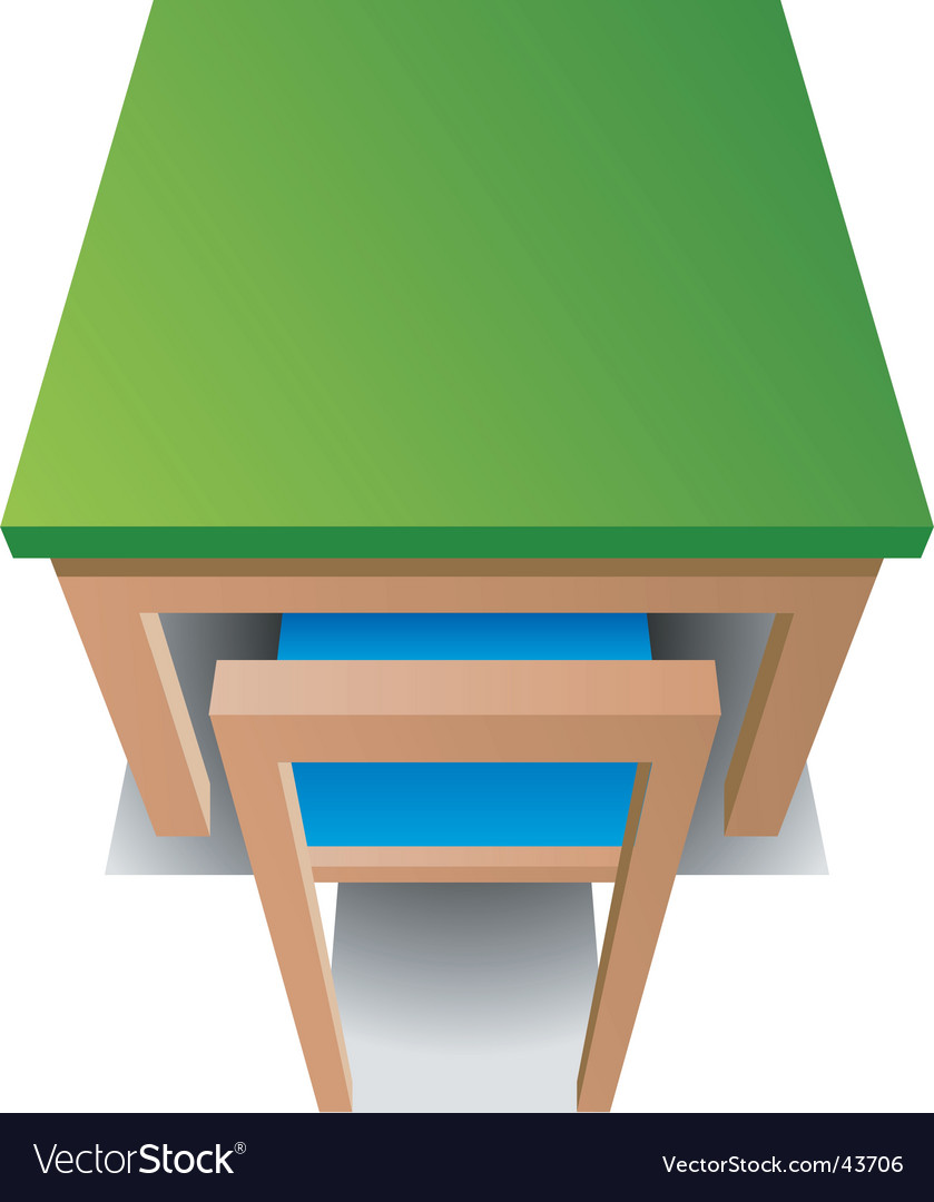 Green table with blue chair vector | Price: 1 Credit (USD $1)