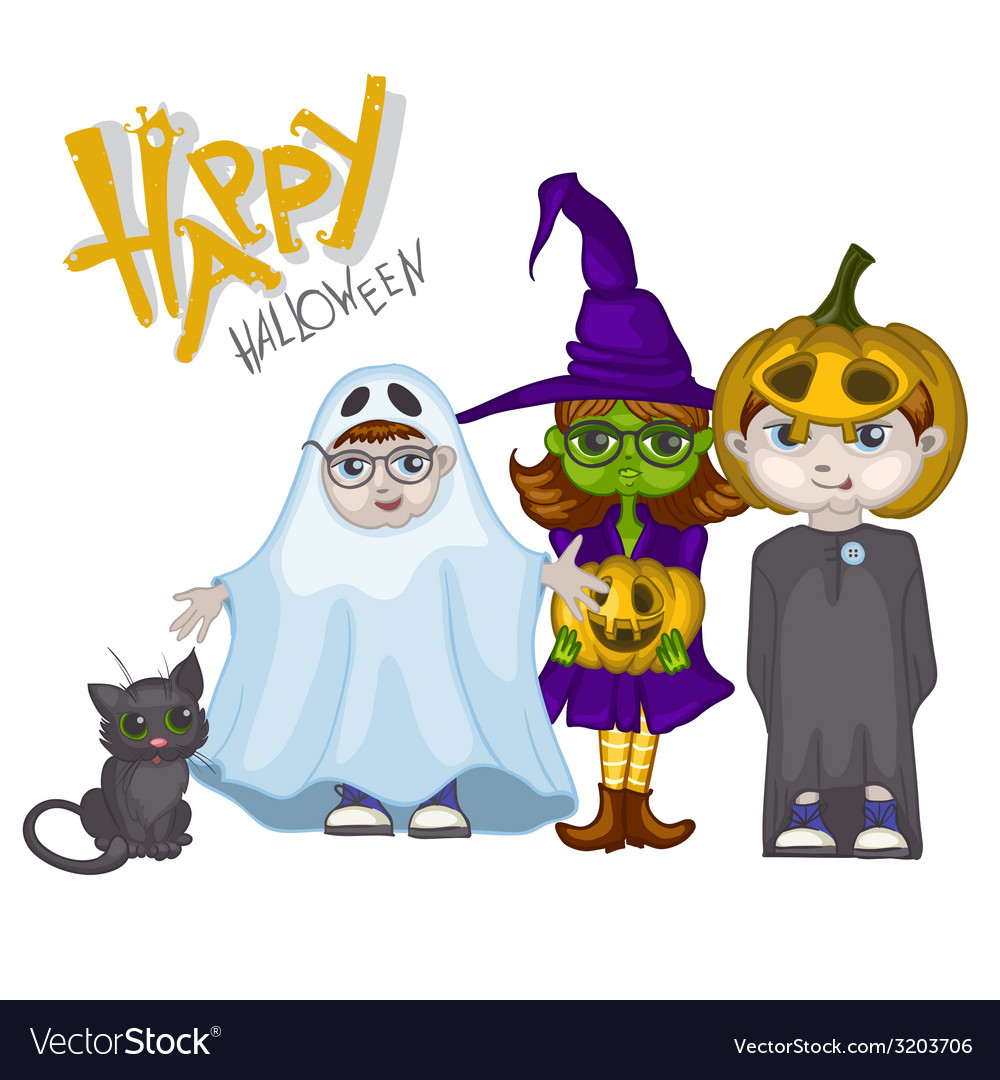 Halloween children trick or treating vector | Price: 1 Credit (USD $1)