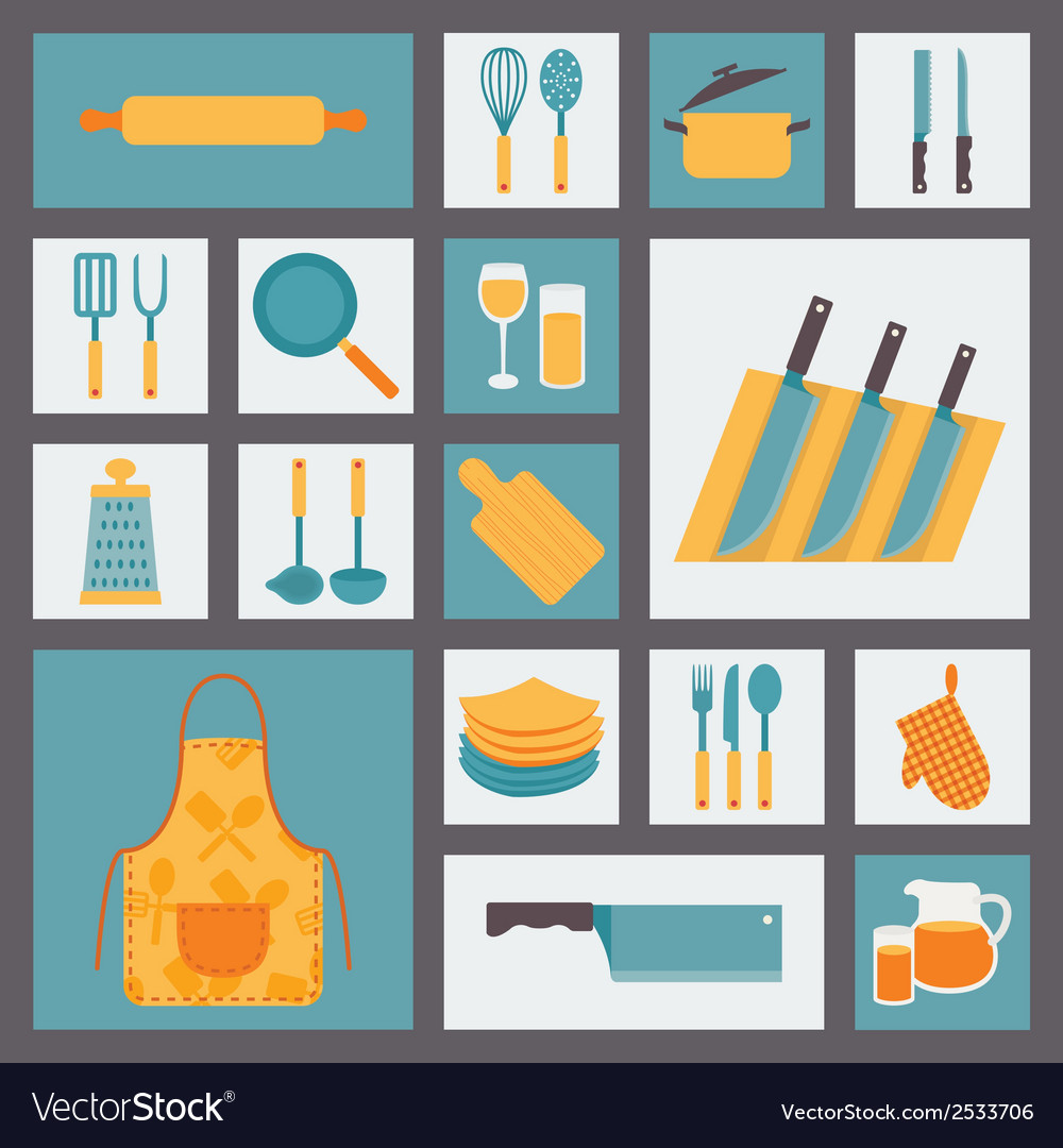 Kitchen and cooking icons set kitchenware and vector | Price: 1 Credit (USD $1)