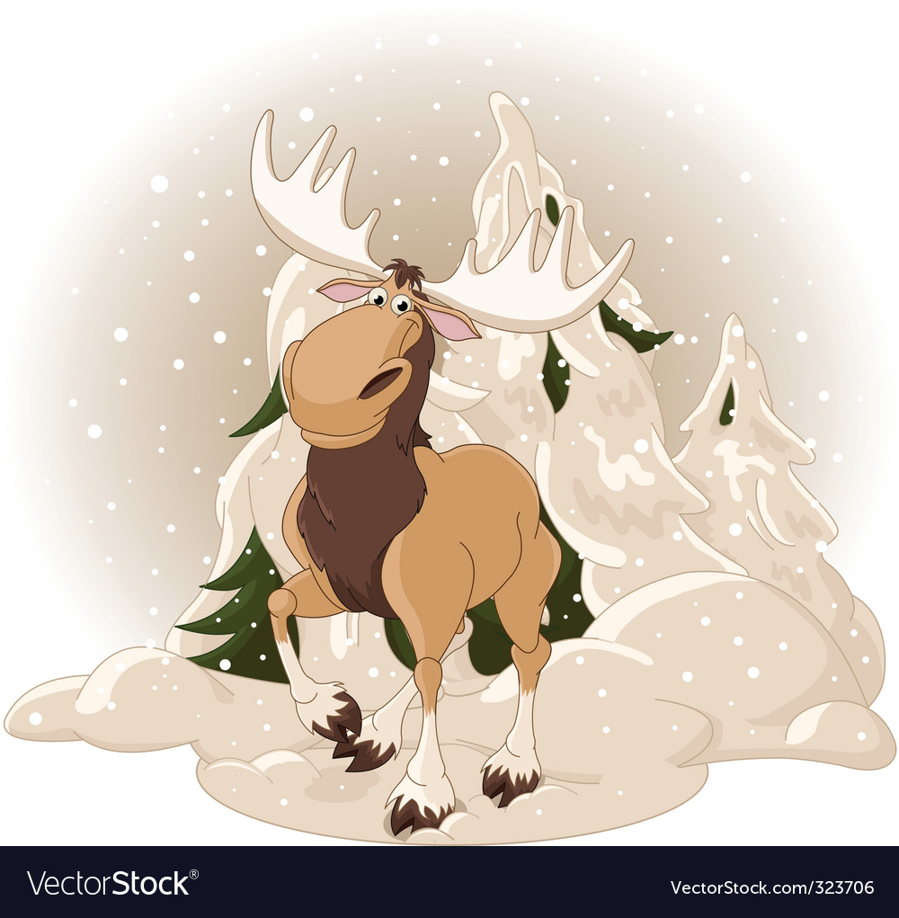 Moose against a snowy forest vector | Price: 3 Credit (USD $3)