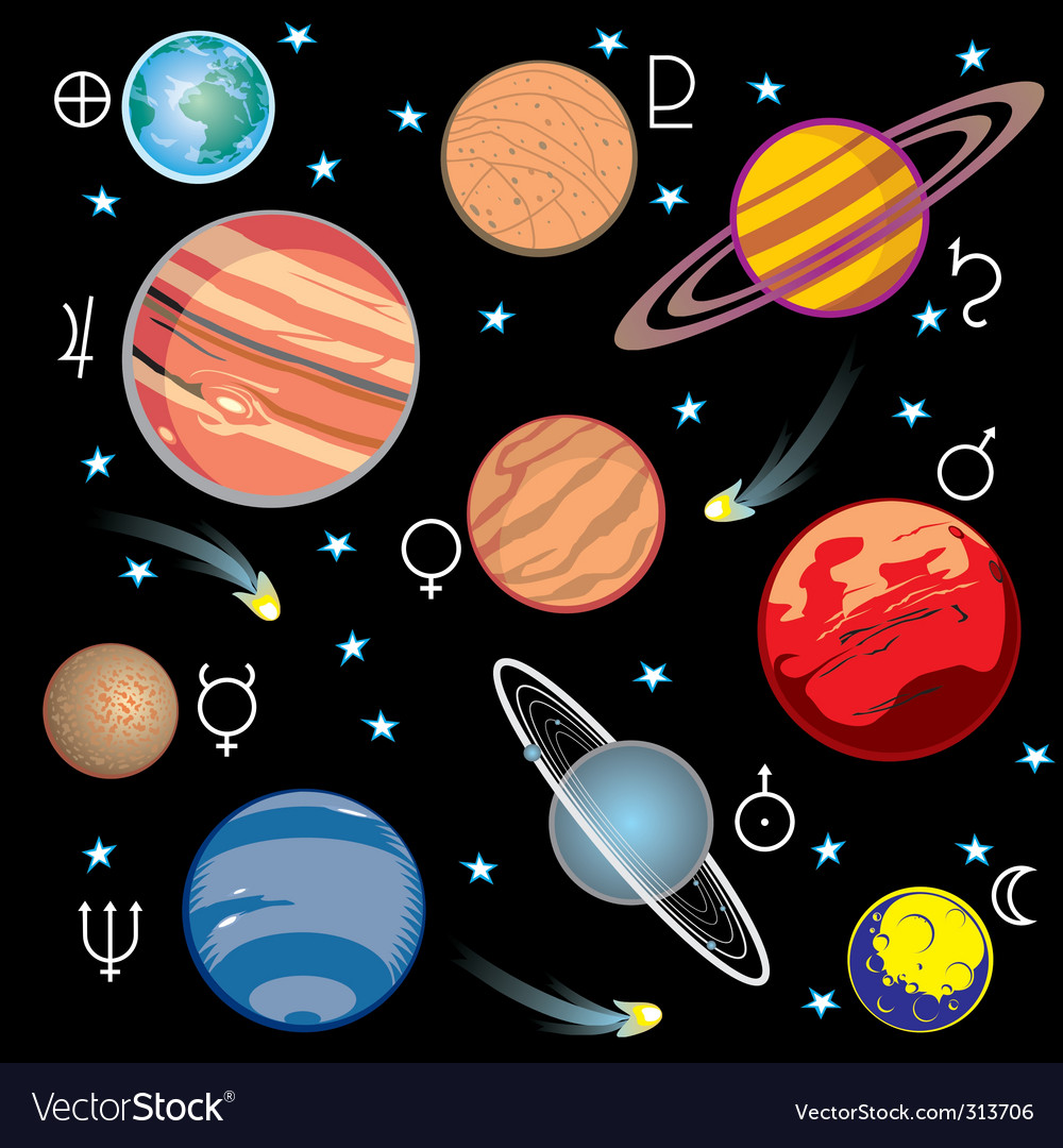 Planet solar system vector | Price: 1 Credit (USD $1)