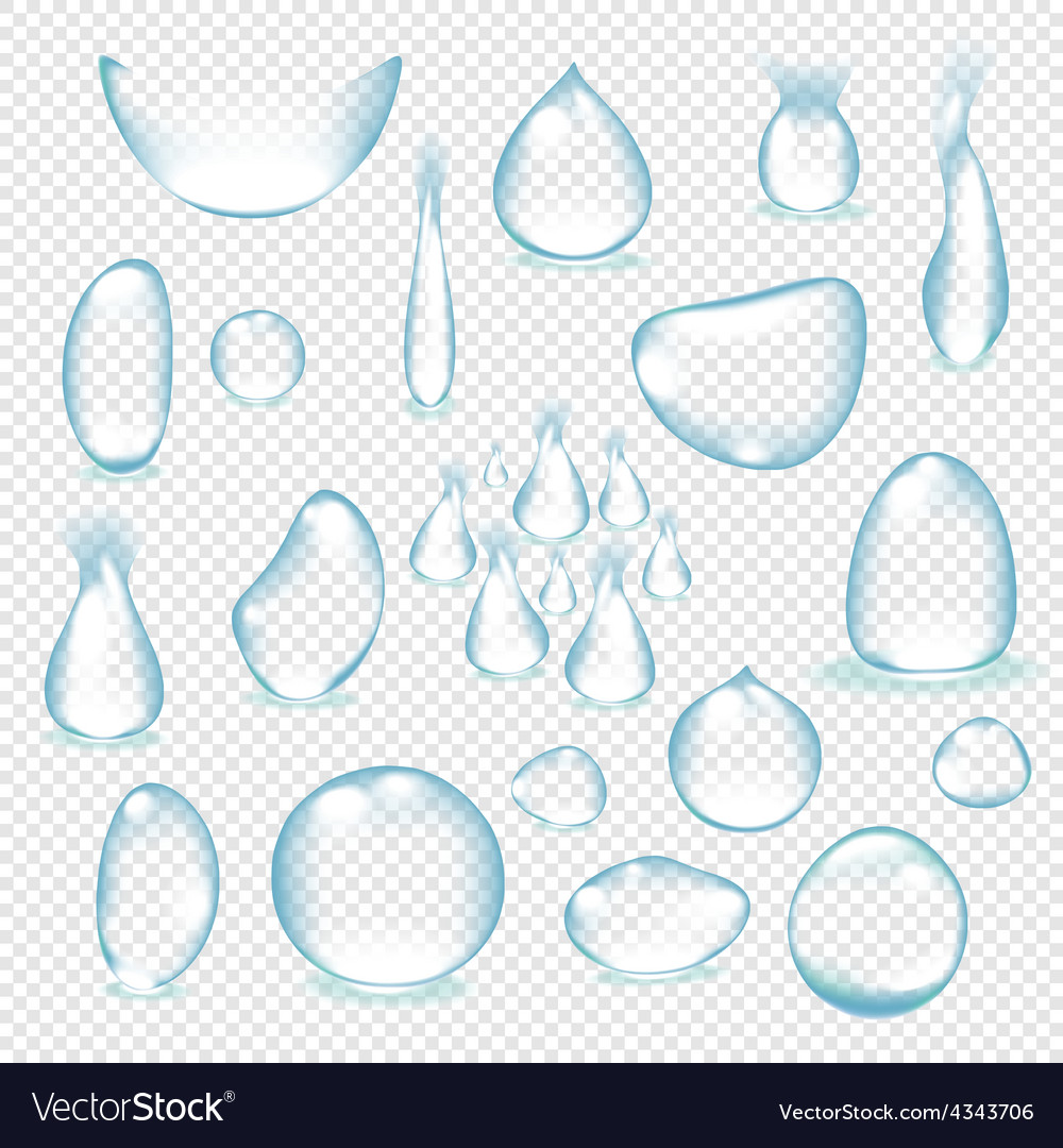 Pure clear water drops realistic set isolated vector | Price: 1 Credit (USD $1)